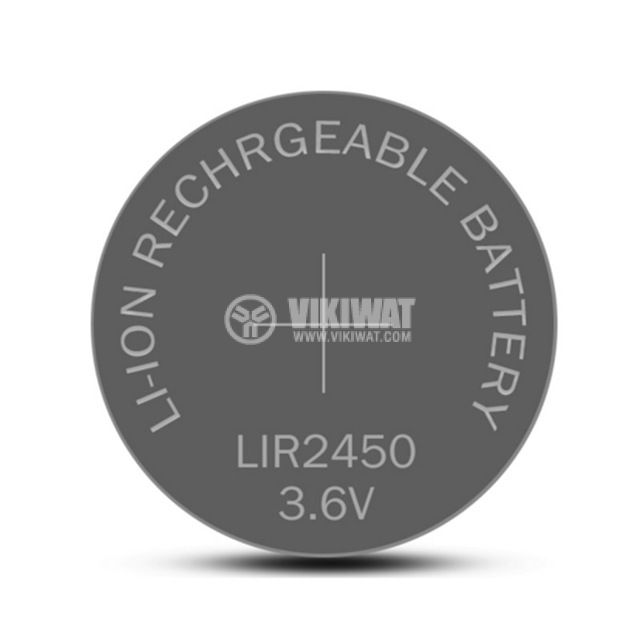 Button Cell Battery LIR2450, 3.6V, LI-ION, Rechargeable