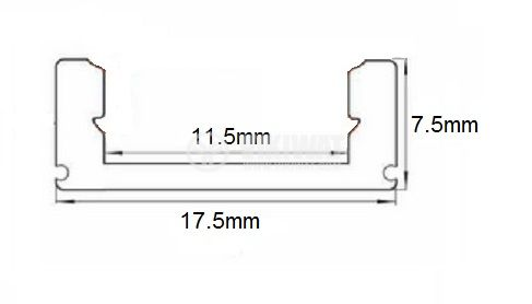 Aluminium profile for LED strip, narrow, outdoor mounting - 3