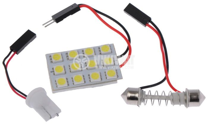 Auto LED lamp, 12V, 12 LED, cool white