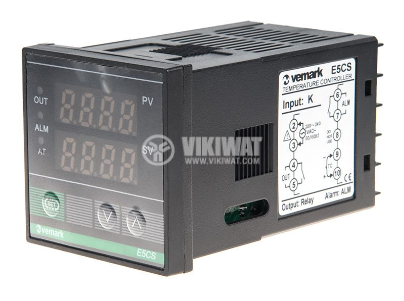 Temperature controller, E5CS, 220 VAC, 0 ° C to 1200 ° C, thermocouple type K, relay output - 1
