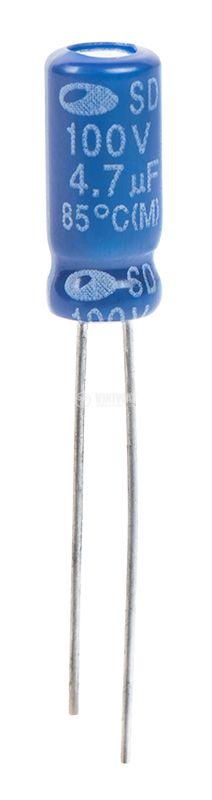 Electrolytic capacitor 4.7uF, 100VDC, ф5x11mm - 1