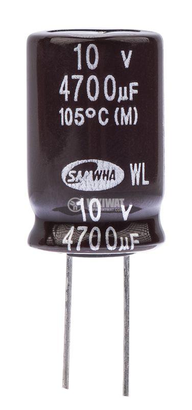 Кондензатор електролитен 4700uF, 10V, THT, ф16x25mm