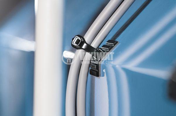 Държач за кабелни превръзки FMB4APT-I-PA66HS-BK, 28x28mm, черен, двойнозалепващ - 4