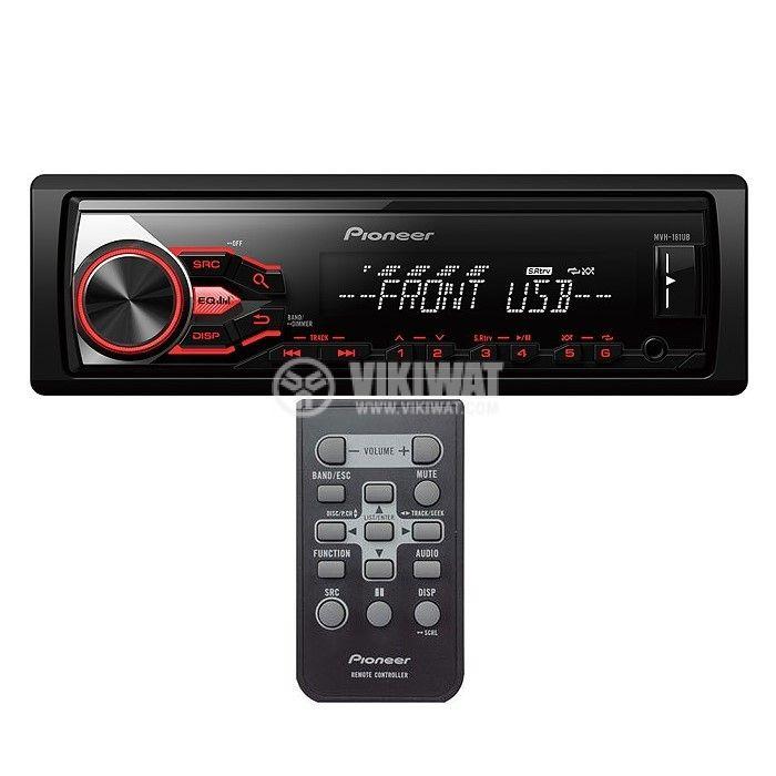 Радио MP3 плеър за автомобил, PIONEER MVH-181UB, 4X50W, USB и дистанционно - 1