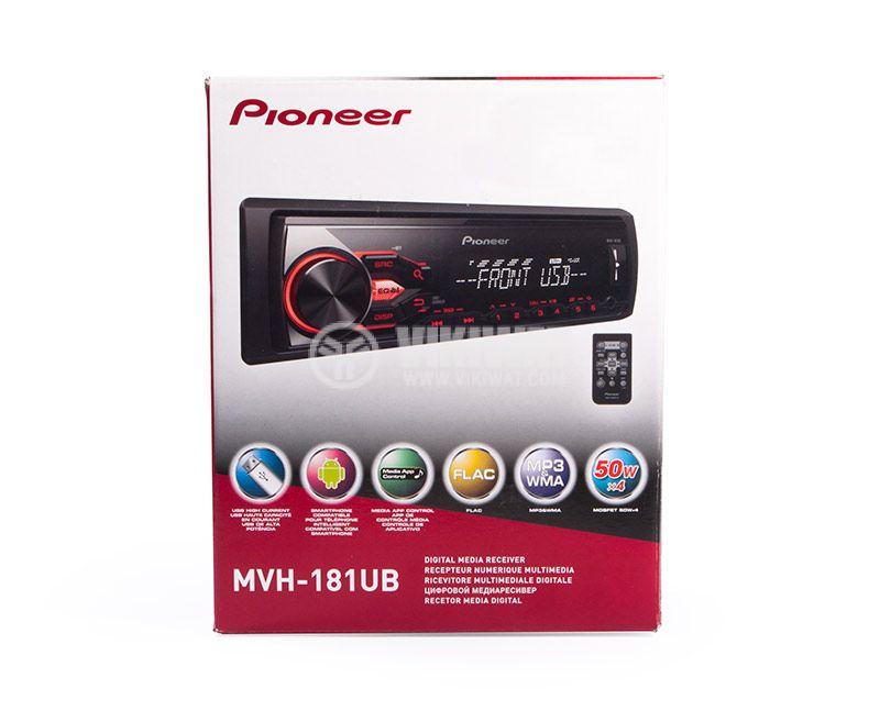 Радио MP3 плеър за автомобил, PIONEER MVH-181UB, 4X50W, USB и дистанционно - 6