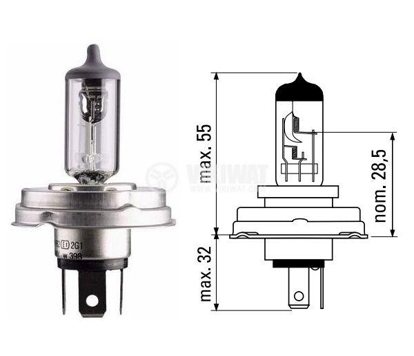 Автомобилна халогенна лампа, 12VDC, H4, 100/90W, P45t - 1