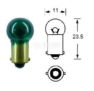 Автомобилна лампа, 24VDC, 3W, BA9S, зелена