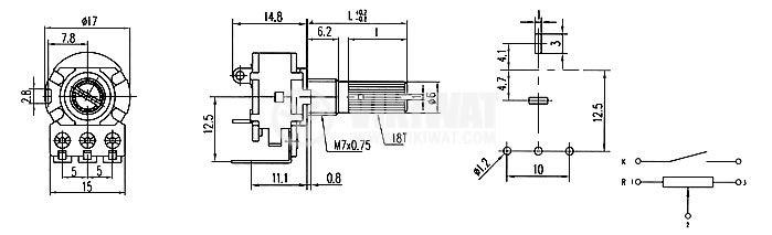 Потенциометър ротационен WH160АК-4-18T, с ключ, линеен, моно, 100kOhm, 0.0125W - 2