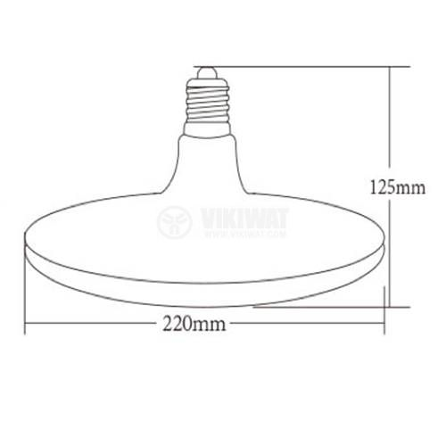 LED bulb 24W, E27, 1900lm, 6500K, cool white, BB01-12423, black body - 2