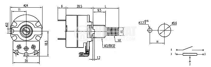 Потенциометър ротационен с ключ линеен моно 1 MOhm WH138-2А-1-18T - 4