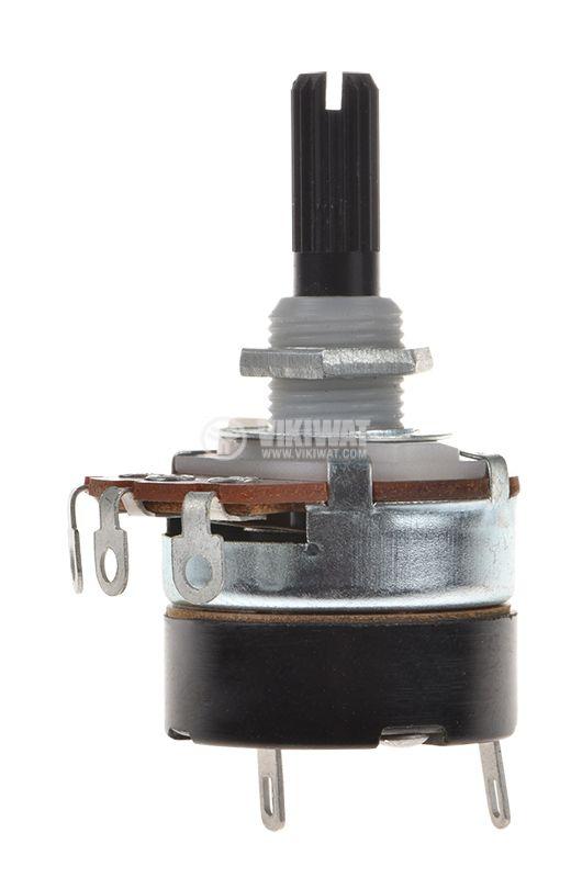 Потенциометър ротационен с ключ, линеен, моно, 1MOhm, WH138-2А-1-18T - 1