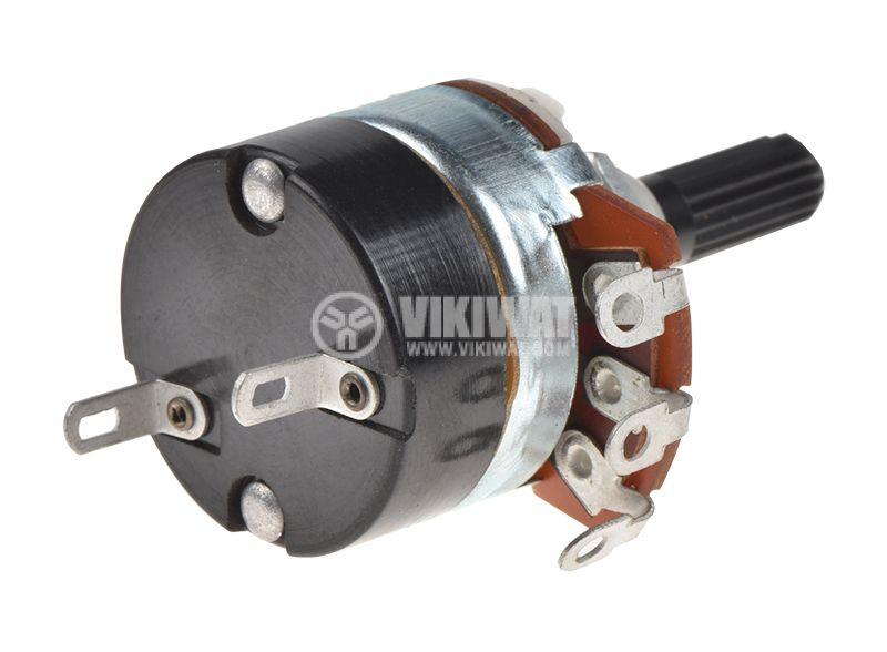 Потенциометър ротационен, с ключ, линеен, моно, 500 kOhm, WH138-2А-1-18T - 2