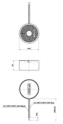 Пиезо зумер, KPI-G4020L, 103dB, 3.2KHz, Ф40x20mm, с генератор - 4
