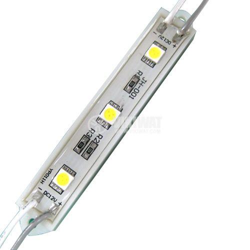 LED модул 3led, 1.2W, 12VDC, влагозащитен, студено бял - 1