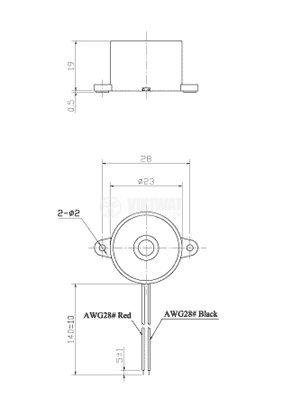 Зумер, KPI-G2313L, 12VDC, 88dB, 3.3KHz, Ф23 x 19mm, пиезоелектричен, с генератор - 2