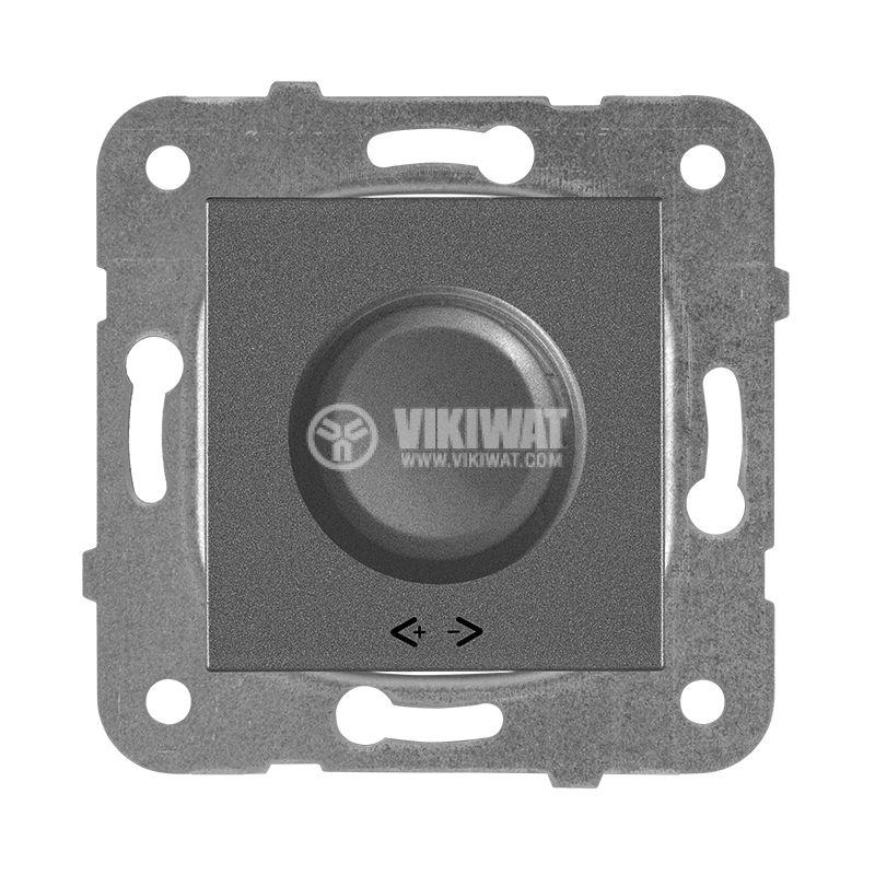 Rotary Dimmer, Panasonic, mechanism+rocker, RLC 20-350W, 230VAC, dark gray, WKTT0524-2DG