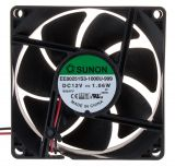 Fan EE80251S3-1000U-999, 12VDC, 80x80x25mm, sleeve, 55.77m³/h