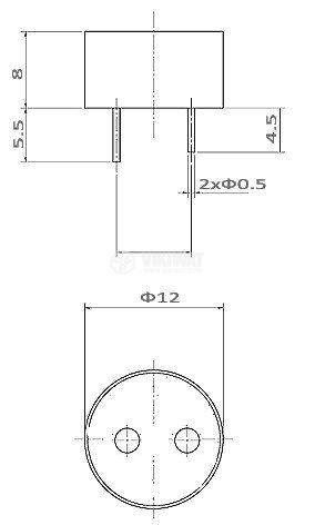 Зумер 12VDC, ф12mm с генератор - 3