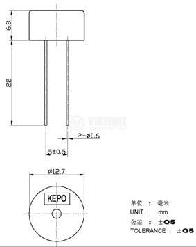 Зумер, KPT-G1340P22, 3V, 70dB, 4kHz, Ф13 x 6mm, без генератор - 2