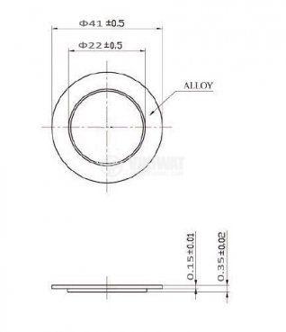 Пиезопластина, FT-41T-1.0A1, 1kHz, Ф41x0.23mm, без генератор - 2