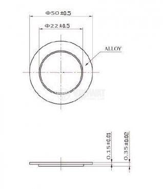 Пиезопластина, FT-50T-3.0A1, 3kHz,  Ф50x0.43mm, без генератор - 2