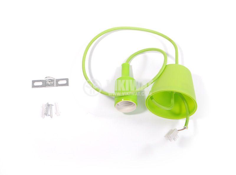 Пендел с цокъл Е27, зелен, 1m дължина - 1