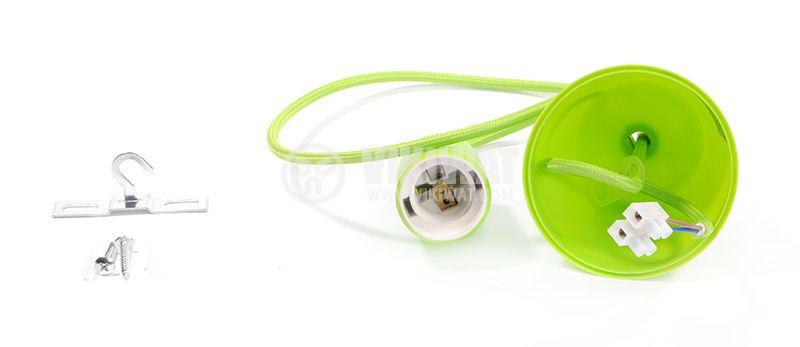 Пендел с цокъл Е27, зелен, 1m дължина - 2