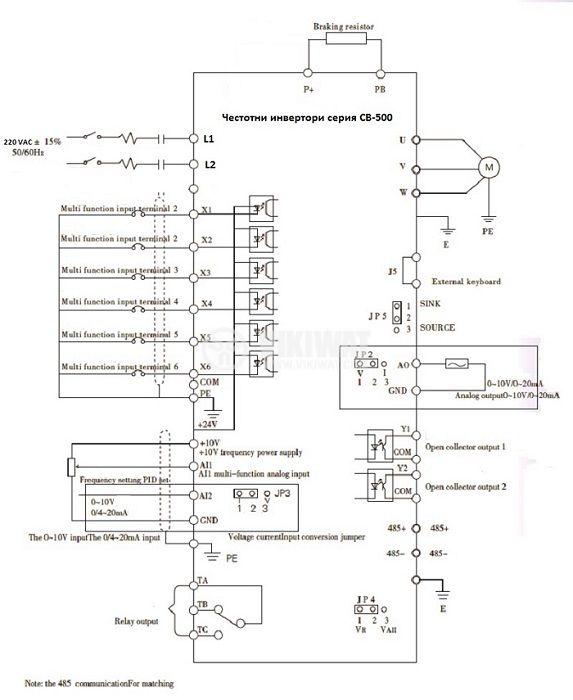 Frequency inverter CB510G-4K, 220VAC, three-phase motor control 4kW - 2