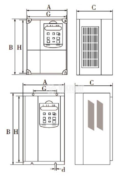 Frequency inverter CB510G-4K, 220VAC, three-phase motor control 4kW - 5