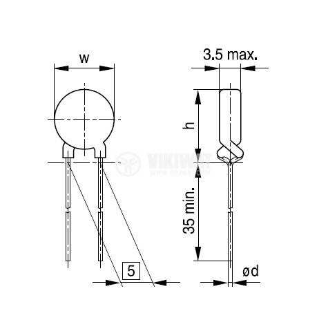 Терморезистор, PTC, 8.5 Ohm, C970, Ф9x2.5 mm - 2