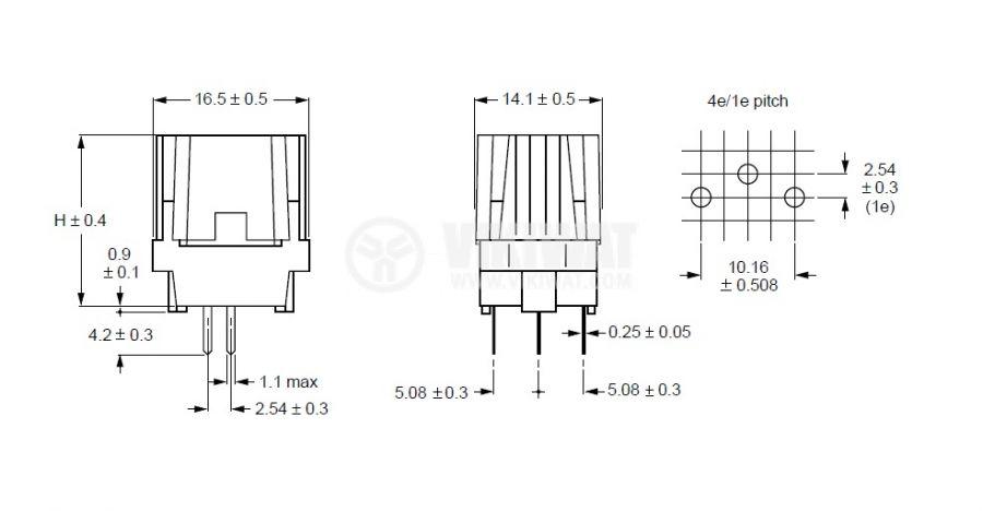 Терморезистор, PTC, модел 96209, 30 Ohm, 16x14x20 mm, 3 pins - 2
