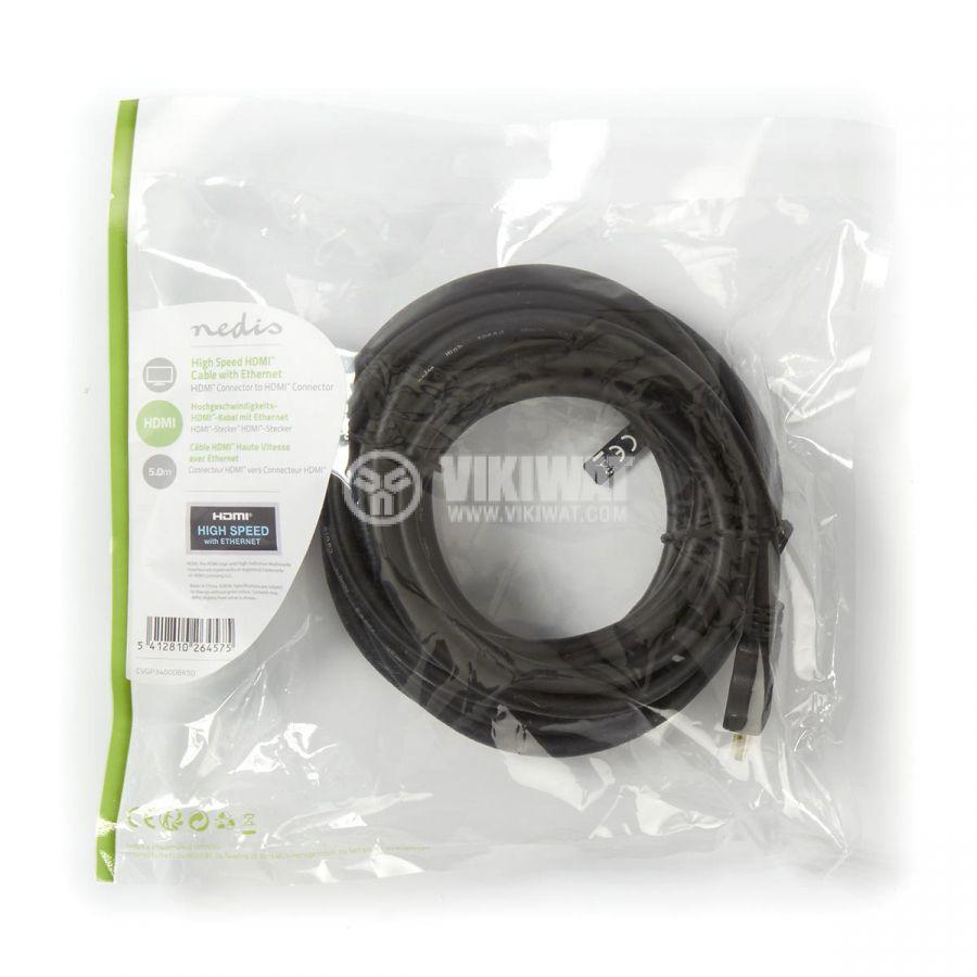 Скоростен hdmi кабел мъжки накрайници, 5m, Nedis CVGP34000BK50 - 3