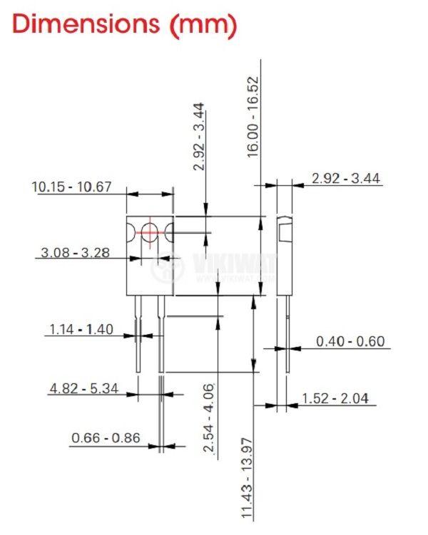 Резистор thick film, 0.1 Ohm, 20W, +/- 5%, THT, TO220, от -65 до +150°C, изолиран корпус - 2