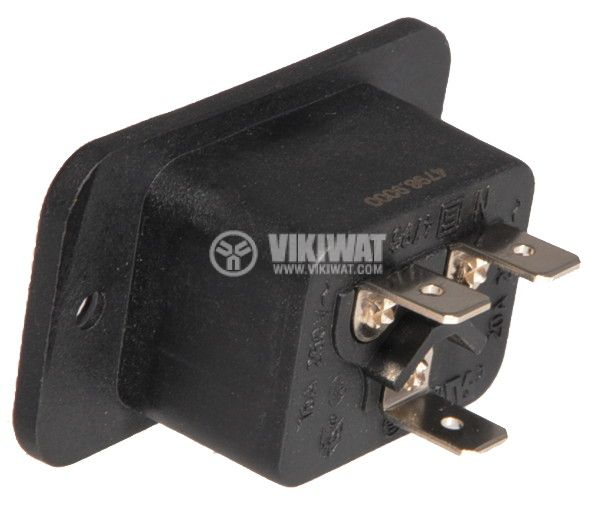 AC Power Socket, IEC 60320, 250VAC, 16A, 3pin, M - 3