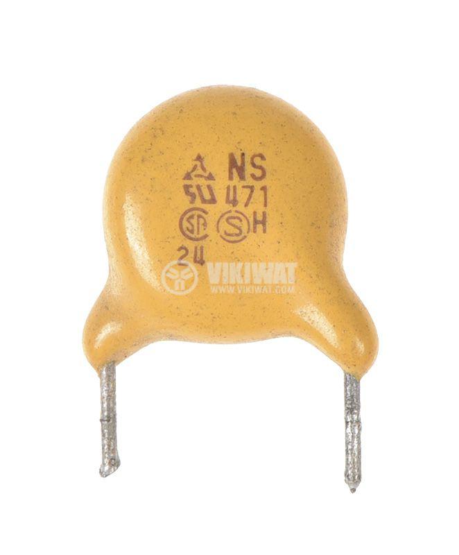 Керамичен кондензатор, 470pF, 2kV, Ф9x3mm, THT, +/-10% - 1