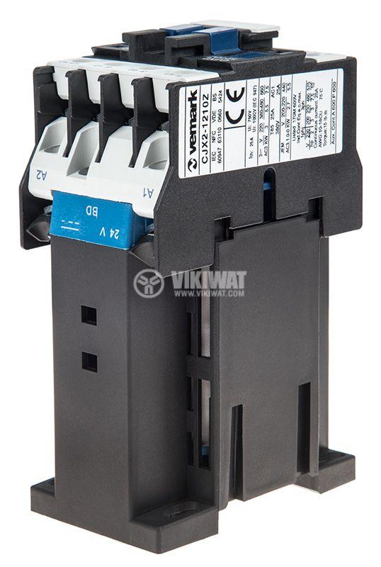 Контактор, трифазен, бобина 12VDC, 3PST - 3NO, 12A, CJX2-1210Z, NO - 5