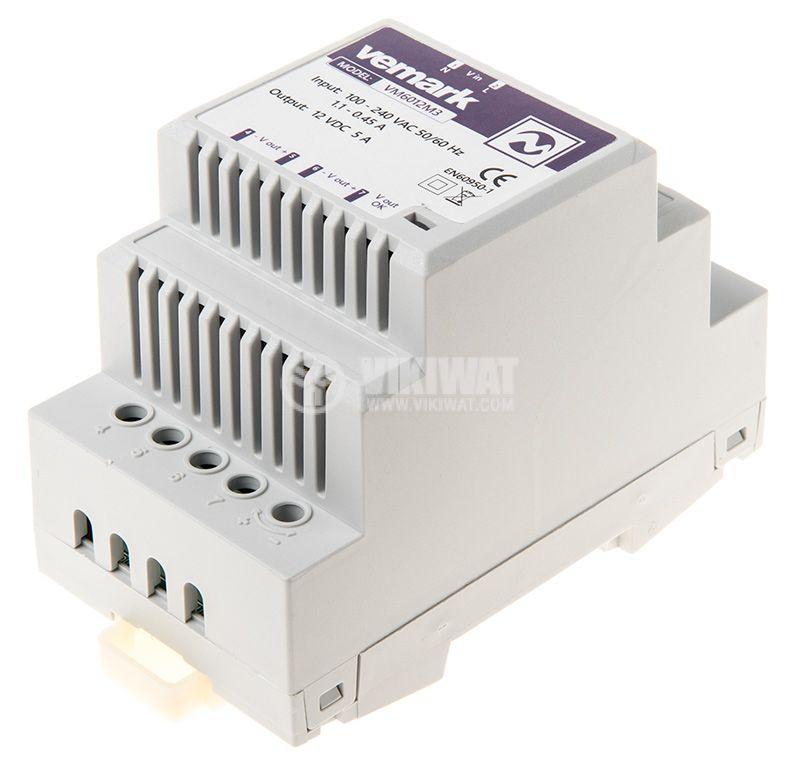 Pulse power supply for DIN rail, 12VDC, 60W, 5A, VS6012M3 - 2
