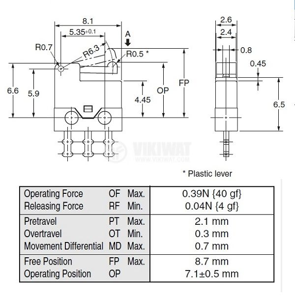 Micro Switch D2MQ-4L-1, ON-(ON), SPDT, 0.5 A / 30 VDC - 2