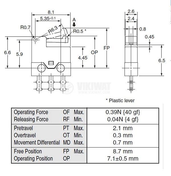 Микрек с лост D2MQ-4L-1, ON-(ON), SPDT ,0.5 A / 30 VDC - 2