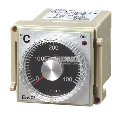 Temperature Regulator, E5C2, 220 VAC, 0° C to 400 °C, type J with relay output - 1