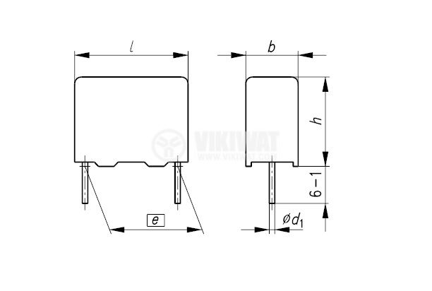 Кондензатор плосък 330MKT-P, 0.22 uF, 250 V, ±20 % - 2