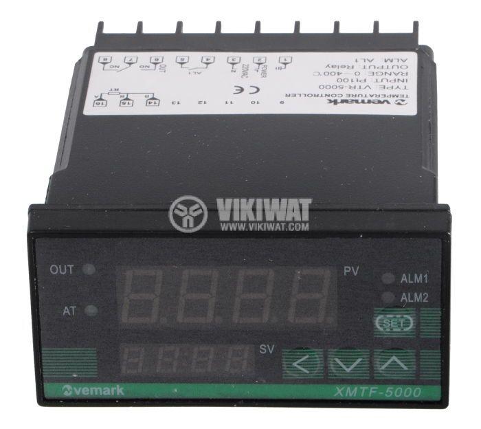 Термоконтролер, VTR-5000, 220 VAC, от 0 °C до 400 °C, термосензор тип Pt100, релеен изход - 1