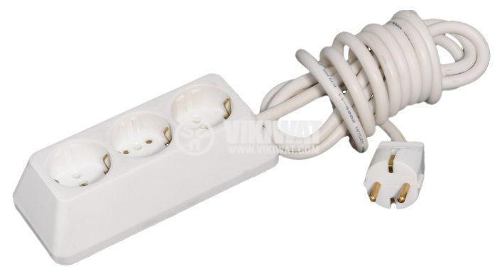Разклонител 3-ка, TODI, 2m кабел, бакелит, бял