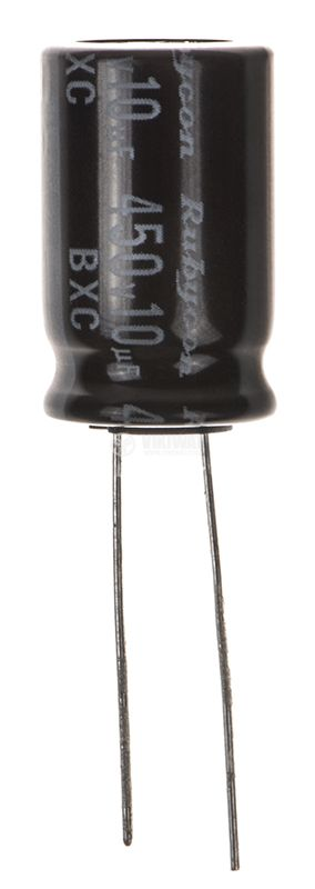 Electrolytic capacitor 450V, 10uF, ф12.5x21mm - 1