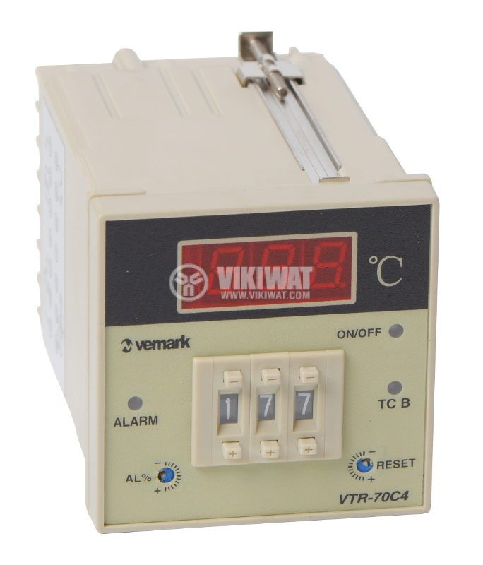 Temperature controller VTR-70C4, 220VAC, 0-400°C, TC type K, relay output - 1