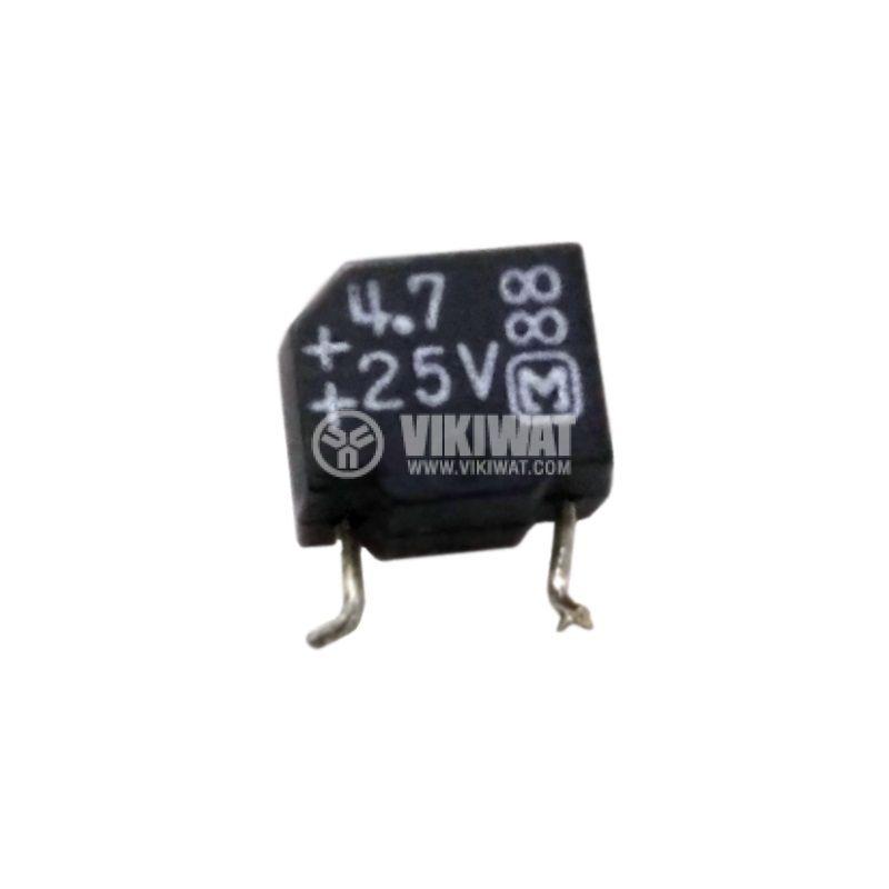 Кондензатор електролитен 4.7uF, 25V, THT, 7x4x6mm