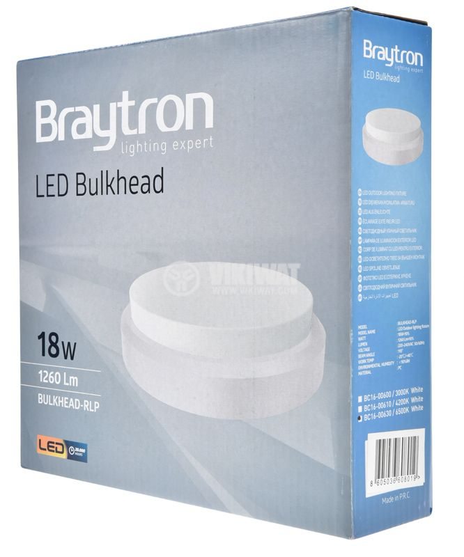 LED Ceiling light BULKHEAD, 18W, 220VAC, 1260lm, 6500K, IP54, BC16-00630 - 9