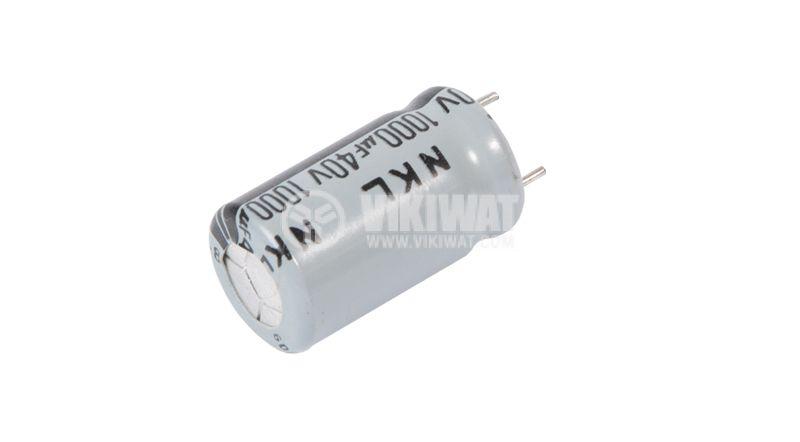 Кондензатор електролитен 40 V, 1000 µF, Ф13x23 mm - 3