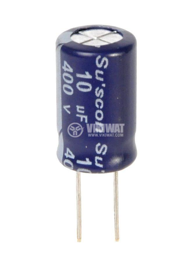 Кондензатор електролитен 400 V, 10 µF, Ф10x17 mm