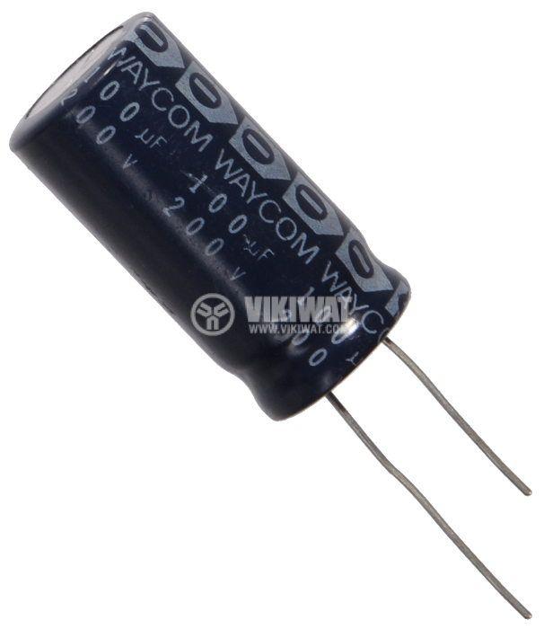 Кондензатор електролитен 200 V, 100 µF, Ф18x36 mm